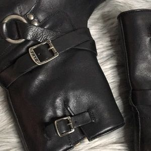 Frye Shoes - Frye moto boots 7.5 wrap buckle harness O-ring